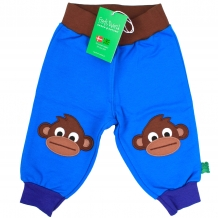 "FRED'S WORLD by GREEN COTTON Baby Sweathose ""Sweat Applique Pants"" in Schwedenblau mit stylischen Affen-Knie-Patches (Blue)"