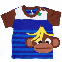 "FRED'S WORLD by GREEN COTTON Jungen T-Shirt ""Monkey Stripe"" in Blau mit Affen-Applikation (Royal Blue)"