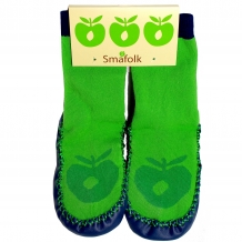 "SMAFOLK Kinder ""Mocassin Slippers"" in Apple Green mit Ledersohle (Style: 51-9751)"