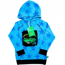 "FRED'S WORLD by GREEN COTTON Jungen Kapuzenpullover ""Car Hood"" in Türkis mit Allover-Sternen-Print (Aqua)"