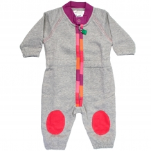 "FRED'S WORLD by GREEN COTTON Baby Overall / Spieler ""Sweat Suit Appliqué"" mit Applikation in Grau / Pink (Violet)"