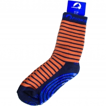 "FINKID Kinder Anti-Rutsch-Socken ""Tapsut"" ABS Stoppersocken in Orange und Blau geringelt (Navy / Rust)"