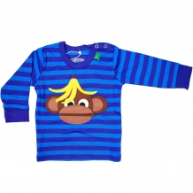 "FRED'S WORLD by GREEN COTTON Baby Longsleeve ""Monkey Stripe"" Langarmshirt in Blau mit Streifen-Print (Royal Blue)"