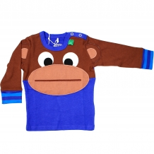 "FRED'S WORLD by GREEN COTTON Baby Longsleeve ""Monkey"" Langarmshirt in Blau (Royal Blue)"