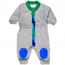 "FRED'S WORLD by GREEN COTTON Jungen Overall / Spieler ""Sweat Suit Appliqué"" mit Gespenst-Applikation in Grau / Grün (Greymarl / Green)"