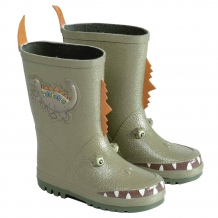 "KIDORABLE Kinder Gummistiefel ""Dino"" mit 3-D-Effekt in Grün / Orange"