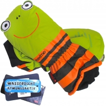 "MAXIMO Kinder Fäustlinge ""Frosch"" Fausthandschuhe in Grün / Orange (Colour: 68)"