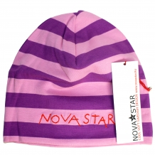 "NOVA STAR Kinder Striped Beanie ""Neptun"" Unisex Jerseymütze in rosa-fliederfarbenem Blockstreifen-Look"